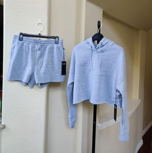 Ci Sono Knit Collection Hoodie/Shorts 2Pc Set NWT